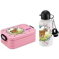 Mein Zwergenland SET Lunchbox Rosti Mepal Maxi Take A Break midi Brotdose Brotbox und Alu-Trinkflasche mit eigenem Namen Pferdewiese mit Schmetterlingen (nordic pink) preisvergleich bei kinderzimmerdekopreise.eu