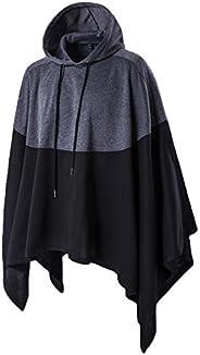 Haseil Men's Casual Pullover Hoodies Bat Sleeves Hooded Cloak Phocho Cape