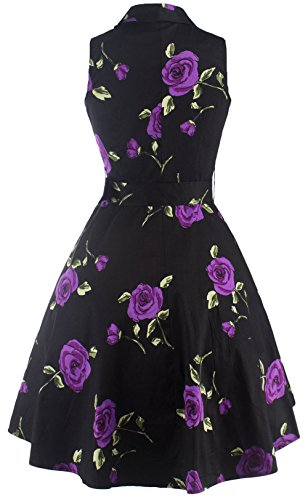 u-shot da donna, collo a V, senza maniche floreale Prom abito vintage anni '50 cocktail party Swing Dress Purple