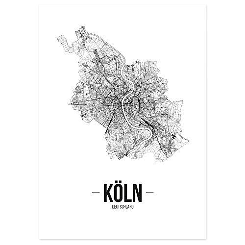 JUNIWORDS Stadtposter - Wähle Deine Stadt - Köln - 21 x 30 cm - Schrift B - Weiß