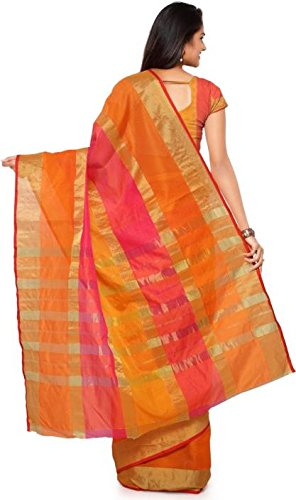 Vatsla Enterprise Women's Cotton Saree With Blouse Piece(Orange_Vpysfntasaree_Free Size)