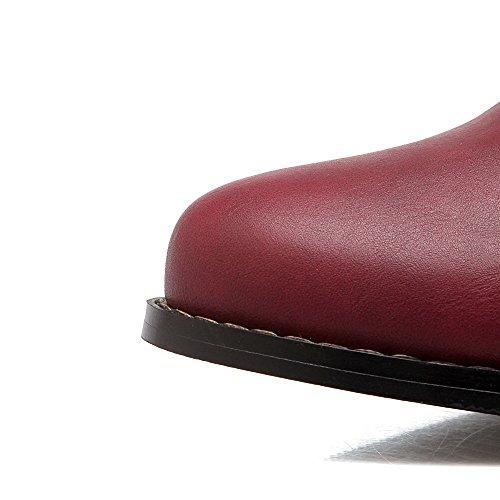 AgooLar Damen Niedrig-Spitze Reißverschluss Mittler Absatz Spitz Zehe Stiefel Rot