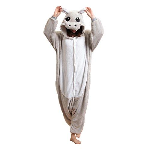 Unisex Erwachsene Kinder Pyjamas Cosplay Nachtwäsche Nilpferd Tier Onesie Kostüme Schlafanzug Tieroutfit tierkostüme (Nilpferd Erwachsene Kostüme)