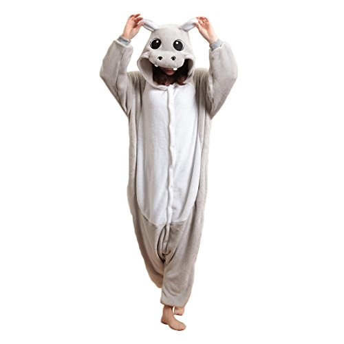 Adulte Unisexe hippopotame Anime Costume Cosplay Combinaison Pyjama Outfit Nuit Vêtements onesies Fleece Halloween Costume Soirée de Déguisement (S, gris)