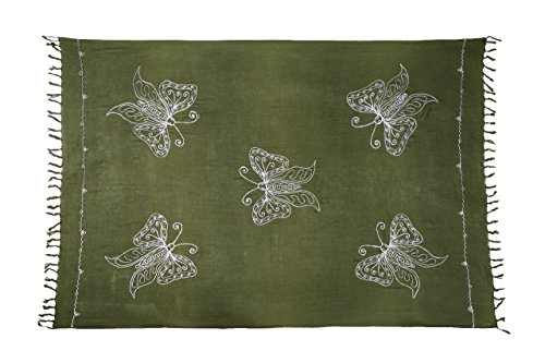 Riesen Auswahl - Sarong Pareo Wickelrock Handtuch Strandtuch Wickelkleid Schmetterling Design Handarbeit Made by EL - Vertriebs GmbH Khaki