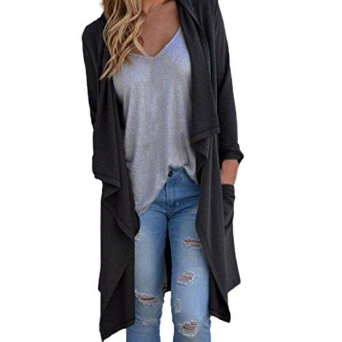 RETUROM nuevo estilo de la moda de las mujeres de manga larga Cardigan irregular flojo Outwear la capa de la chaqueta (M)