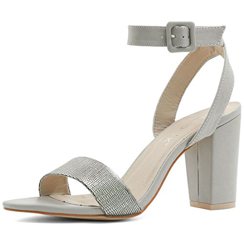 Allegra K Femme Talon Épais Sandales Sangle Cheville silver