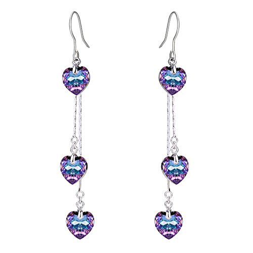 Fanze donna argento-fondo nuziale 3 cuore d'amore oceano gancio ciondola gli orecchini viola con swarovski cristallo