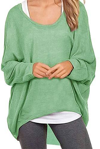 Meyison Damen Lose Asymmetrisch Sweatshirt Pullover Bluse Oberteile Oversized Tops T-Shirt Hellgrün S -