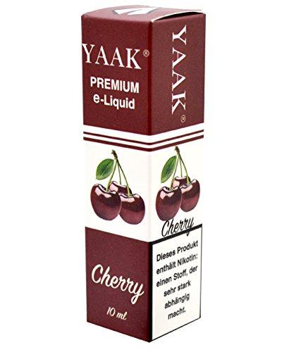 YAAK® Premium E-Liquid 1 x 10 ml Kirsche ohne Nikotin / E-Zigaretten, Elektrische-Zigarette, E-Shisha / Fruchtgeschmack Cherry