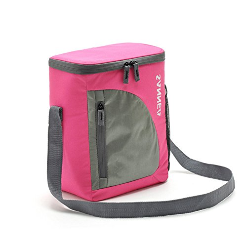 Rieovo 8.8l Portable borsa termica per il pranzo in nylon termico Lunchbox food, borsa da picnic Cooler Tote borse bolsa Almuerzo Pink