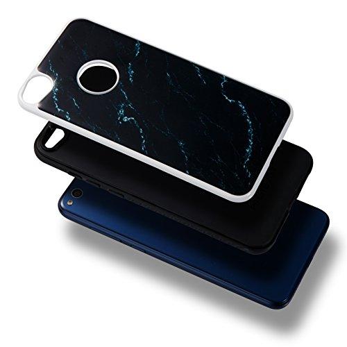 Cover Huawei P8 Lite 2017, Alfort 2 in 1 Custodia Protettiva Placcatura Scrub Shell Alta Qualità Case PC + TPU Moda Semplice Linee di marmo ( Blu cielo ) 5,2 pollici Nero