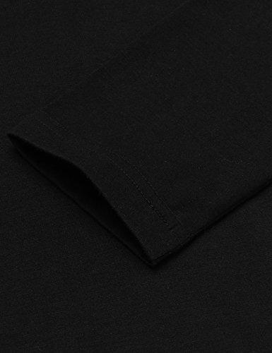 Coofandy Shirt Herren Langarm Grandad Slim Fit Sweatshirt Leder-Saum für Män Schwarz
