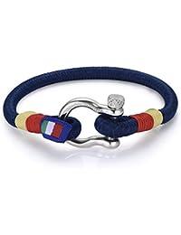 Italienisches Herren Armband in blau. Luca Barra DBA895. Wasser Sport, Segeln, Mode, Schmuck