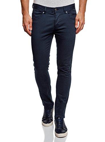 oodji Ultra Hombre Pantalones de Algodón con 5 Bolsillos, Azul, ES 40 (M)