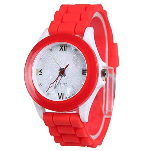 Patifia Uhren Mädchen Teenager, Frauen-Silikonkautschuk-Geleegel-Gel-Quarz-weiche Nette Armbanduhr einfache Mode Uhr beiläufige Sport-Armbanduhr Beiläufig Motion Quarz Uhren Lernen Armbanduhr