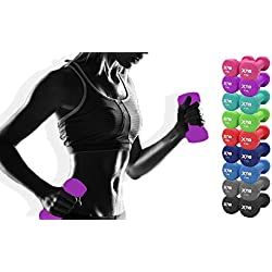 Neoprene Dumbbell Set 1 kg, 2 kg, 3 kg, 4 kg, 5 kg, 6 kg, 8 kg, 10 kg Pair Ladies Gents Aerobic Weights Fitness Body Pilates, Purple, 4 kg Set, 4 x 2 = 8 kg
