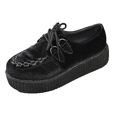 Femmes Épais Gothique Punk Creepers Chaussures Plate-formem, QinMM Appartements Forme Chaussures Lacets Lâche Chaussures Plate (EU 38, Noir)