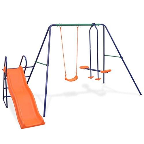 ghuanton Schaukelset mit Rutsche und 3 Sitzen Orange Spielzeuge & Spiele Spielzeug für draußen Schaukeln & Spielplatzgeräte