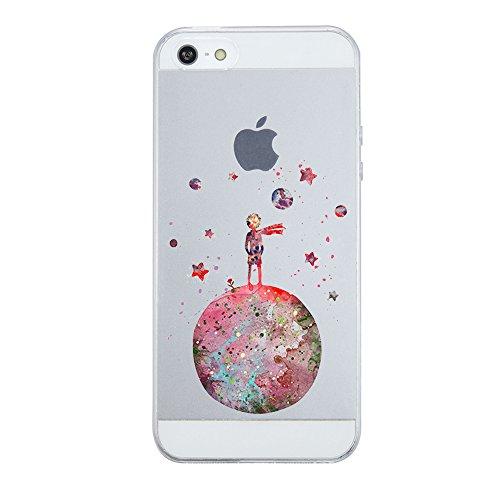 Caler iPhone SE/5S/5 Hülle Weiche Flexible Silikon-Handy-Hülle Transparente Ultra Slim TPU dünne stoßfeste mit Motiv Rundum-Schutz Tasche Etui Schutzhülle Case Cover(der Kleine Prinz)