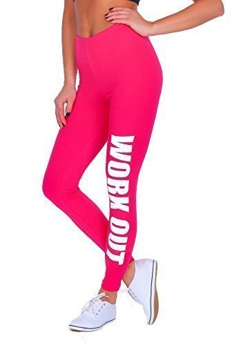 Futuro Fashion Workout Bedruckt Gesamtlänge Baumwolle Active Leggings Jogginghose Fitnessstudio Fitness - Rosa, EU 48/50