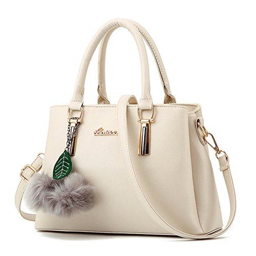 SHUhua Damen Tote Handtasche Damen Umhängetasche Handtaschen aus Leder Weiß