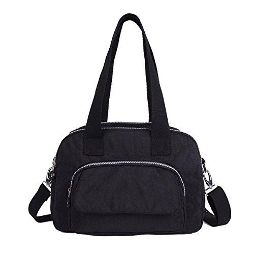 Große Kapazität Wasserdichte Nylon Sporttasche Casual Wilden Multi-Fach Einzigen Schultertasche Black