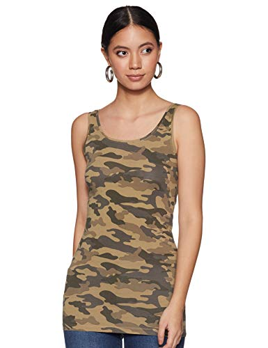ONLY Damen Onllive Love New AOP Long Tank Top, Mehrfarbig (Kalamata AOP:Camouflage), 36 (Herstellergröße: S)
