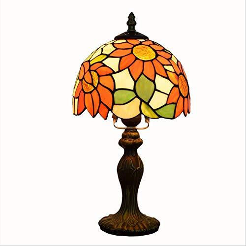 FREEL Tiffany Bauernhaus Stil Tischlampe, Glasmalerei Schatten Kristall Perle Antik Zink Basis für Couchtisch Wohnzimmer Schlafzimmer, 8 Zoll - Bauernhaus Couchtische
