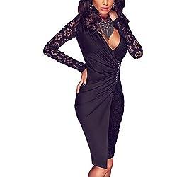 sunifsnow Frauen Sexy Spitze lange Ärmel Asymmetrische V-Ausschnitt Splice Kleid Gr. S, schwarz