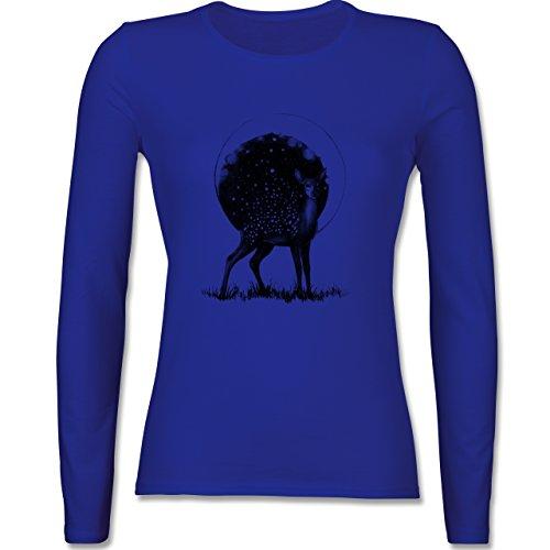 Shirtracer Statement Shirts - Reh Mond und Sterne - Damen Langarmshirt  Royalblau