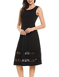2ae290aada6e Meaneor Damen Polka Dots A-Linie elastische Kleider Vintage Rockabilly Kleid  Taille Falten Faltenrock Sommerkleid