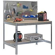 Simonrack 778100045159062 - Banco de trabajo (1440 x 900 x 600 mm, 2 estantes y 1 panel perforado, 400 kg - 250 kg) color galvanizado/madera