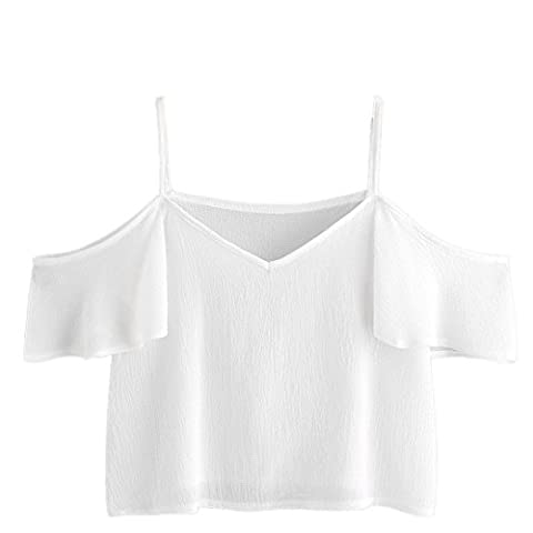 LONUPAZZ T-Shirt à Manches Courtes Femmes Fashion Pinstripe Off Shoulder Top (S, Blanc)