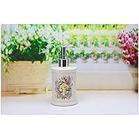 Dispensador De Jabón, Rosa Cerámica Pintura Flores Champú Líquido Desinfectante para Manos Botella Handmade Retro