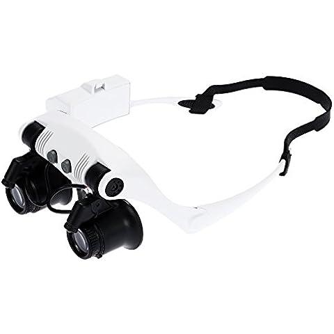 soxid (TM) portátil cabeza con lupa 10X 15X 20X 25X LED doble ojo joyero reloj reloj reparación lupa lupa de gafas con lupa