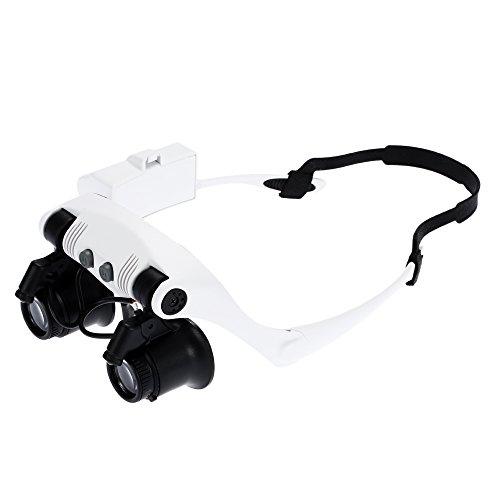 kkmoon Brille Lupe 2LED Lampe Tragbar mit 4Gruppe von Ziele verstellbar 10x/15x/20x/25x für Reparatur und Lesung