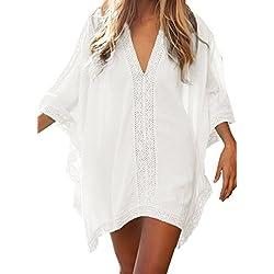 Landove Vestido de Playa Encaje V-Cuello Traje Ropa de Baño para Mujeres Camiseta Manga Murcielago Boho Hippie Camisolas y Pareos Bikini Cover Up Tunica Talla Grande