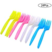 Tomaibaby Disposable Plastic Forks Non-toxic Party Premium Cutlery Forks Tableware for Cake Appetizers Dessert