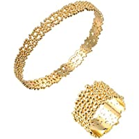 Bling Jewelry holow-cut Albero Pelle Anello e Bracciale da donna placcato oro 18K set di gioielli