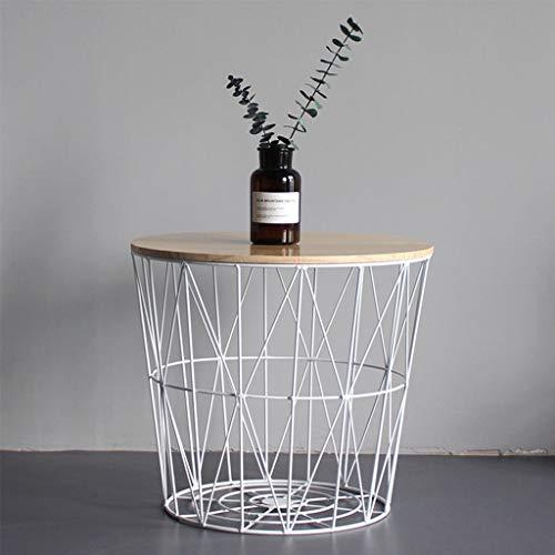 Table basse de salon d'art de fer avec le stockage, table en coin industrielle de sofa, petite table ronde en bois plein avec le panier de rangement géométrique (Couleur : Blanc, taille : 35cm)