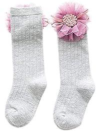 Mattelsen Calcetines Largos para Niñas Suave Algodón Transpirable con Lindo encaje de flores para Niños 5-6 Años