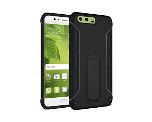 YHUISEN Huawei P10 Case, Cool Shockproof Rüstung Hybrid 2 In1 TPU und PC Robuste Dual Layer mit Kickstand Case für Huawei P10 ( Color : Black ) Black