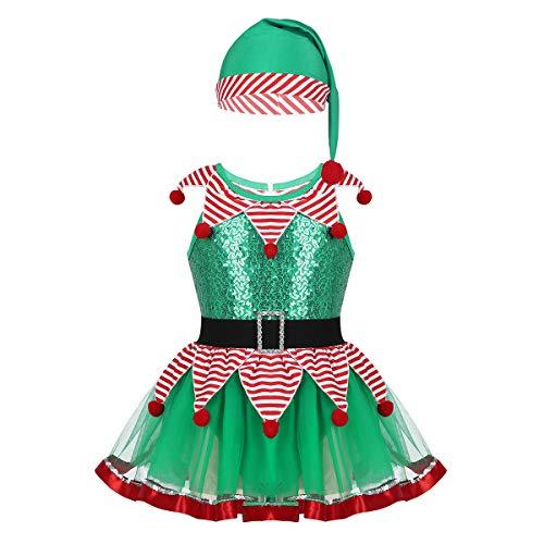 Pan Cartoon Kostüm Peter - Agoky Kinderkostüm Mädchen Weihnachtself Kostüm Set Tutu Kleid und Mütze Zauberer Festtagekleid Tüllrock Mini Partykleid Grün 98-104/3-4Jahre