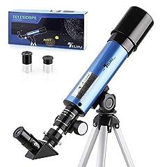 Idea Regalo - TELMU Telescopio Astronomico - 50/360mm Telescopio Astronomico, per Bambini e Principiante, con Specchio Diagonale a 45 ° a Correggere Immagini, Regalo per Esplorare la Luna, Blu