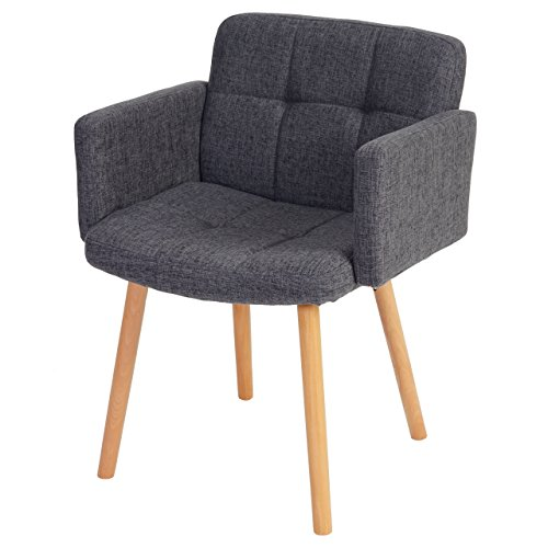 Mendler Esszimmerstuhl Orlando II, Stuhl Lehnstuhl, Retro-Design ~ Textil, grau