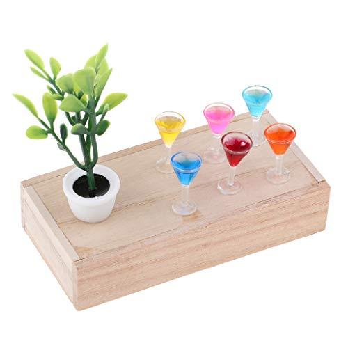 Fenteer 1/12 Puppenstube Zubehör, Puppenhaus Dekoration, Mini Grüne Pflanze, Holzkiste und XO Weinflasche/ Cocktailglas/ Becher Modell Kit - # B - Becher B Modell