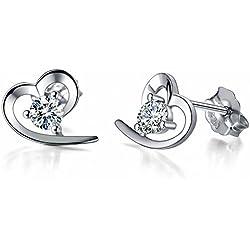 J.Vénus Damen Ohrstecker Ohrringe Set Basic 925 Sterling Silber, Ohrringe mit Etui