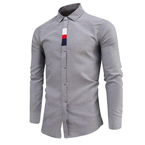 Herrenhemd T-shirt,Dasongff Herren Hemd Luxury Business Hemd Slim Fit Langarmhemd Shirt Freizeithemd Mens Umlegekragen Hemden Tops Bluse T Shirt (3XL, Grau)