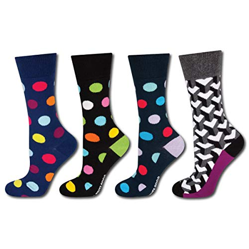 Premium-socken Set (soxo Herren Bunt Gemusterte Socken (4 Paar) | Premium Baumwolle Socken | Modische Muster - Punkte, Herzen und Mehr (Set 1))